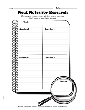 Writing Graphic Organizer: Neat Notes for Research - Printable Worksheet