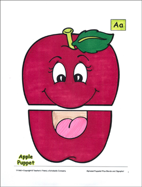 The Letter A: Apple Puppet - Printable Worksheet