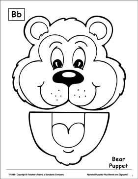 The Letter B: Bear Puppet - Printable Worksheet