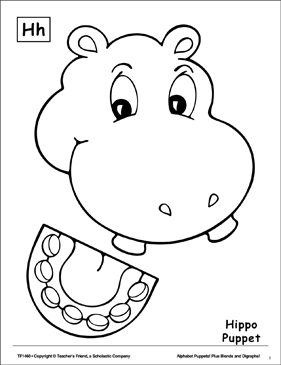 The Letter H: Hippo Puppet - Printable Worksheet
