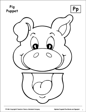 The Letter P: Pig Puppet - Printable Worksheet