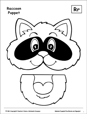The Letter R Raccoon Puppet Printable Cut Pastes Arts