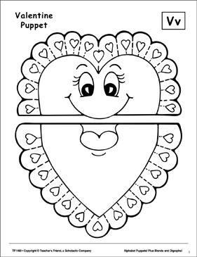 The Letter V: Valentine Puppet | Printable Cut, Pastes, Arts ...