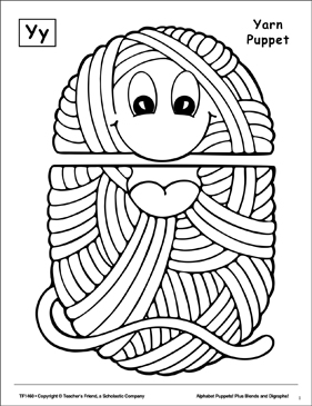 The Letter Y Yarn Puppet Printable Cut Pastes Arts