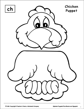 The Sound Ch: Chicken Puppet - Printable Worksheet