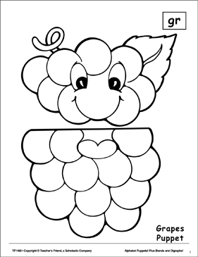 The Sound Gr: Grapes Puppet - Printable Worksheet
