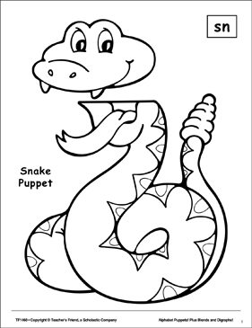 The Sound Sn: Snake Puppet - Printable Worksheet