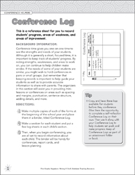 Conference Log (Conference Helpers) Graphic Organizer - Printable Worksheet