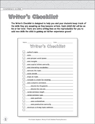 Writer's Checklist (Conference Helpers) Graphic Organizer - Printable Worksheet