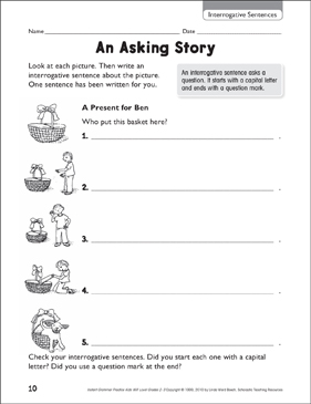 An Asking Story (Interrogative Sentences) - Printable Worksheet