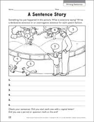 A Sentence Story (Writing Sentences) - Printable Worksheet