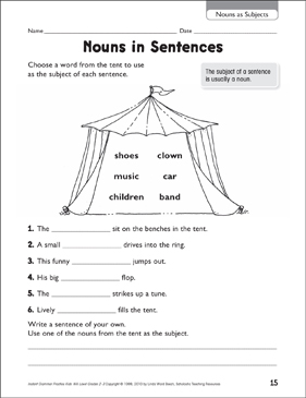 Nouns in Sentences (Nouns as Subjects) - Printable Worksheet