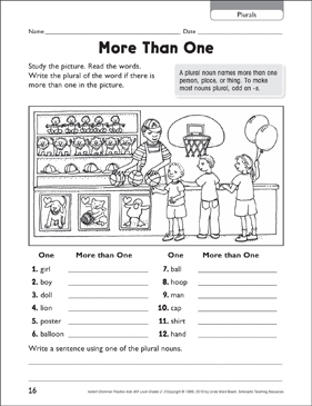 More Than One (Plural Nouns) - Printable Worksheet