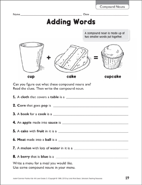 Adding Words (Compound Nouns) - Printable Worksheet