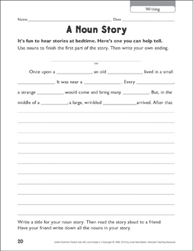 A Noun Story (Writing) - Printable Worksheet