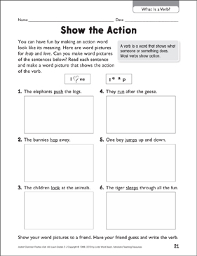 Show the Action (What Is a Verb?) - Printable Worksheet