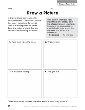 Draw a Picture (Present-Tense Verbs) - Printable Worksheet