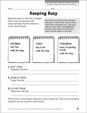 Keeping Busy (Present-, Past- & Future-Tense Verbs) - Printable Worksheet