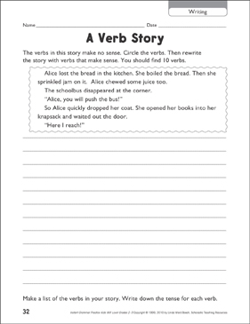 A Verb Story (Writing) - Printable Worksheet
