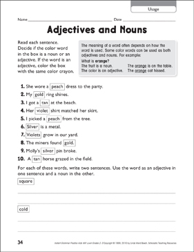Adjectives and Nouns (Usage) - Printable Worksheet