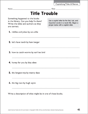 Title Trouble (Capitalizing Title & Names) - Printable Worksheet