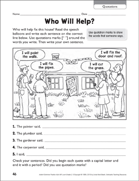 Who Will Help? (Quotations) - Printable Worksheet