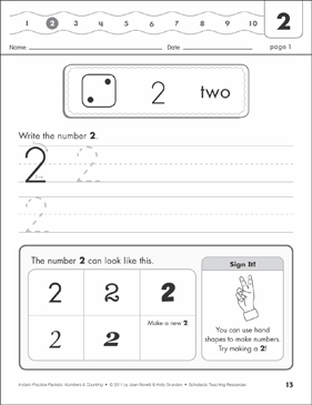 The Number Two (2): Numbers & Counting Practice Packet - Printable Worksheet