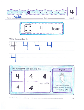 The Number Four (4): Numbers & Counting Practice Packet - Printable Worksheet