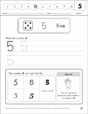 The Number Five (5): Numbers & Counting Practice Packet - Printable Worksheet