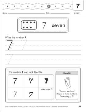 The Number Seven (7): Numbers & Counting Practice Packet - Printable Worksheet