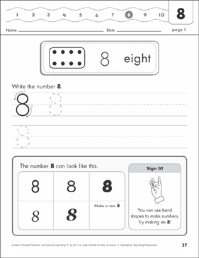 The Number Eight (8): Numbers & Counting Practice Packet - Printable Worksheet