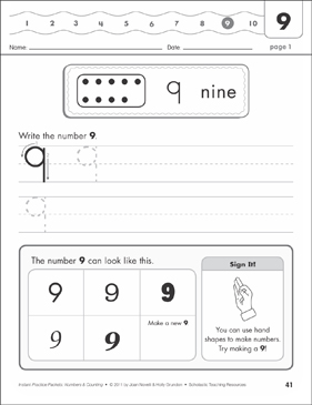The Number Nine (9): Numbers & Counting Practice Packet - Printable Worksheet