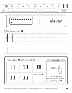 The Number Eleven (11): Numbers & Counting Practice Packet - Printable Worksheet