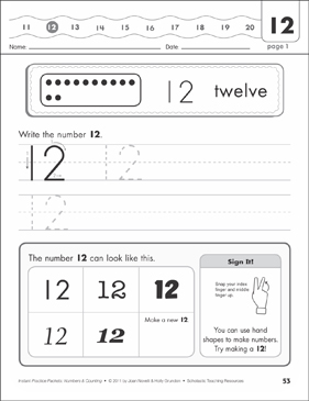 The Number Twelve (12): Numbers & Counting Practice Packet - Printable Worksheet