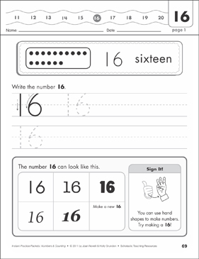 The Number Sixteen (16): Numbers & Counting Practice Packet - Printable Worksheet