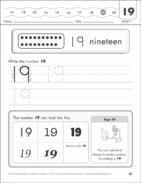 The Number Nineteen (19): Numbers & Counting Practice Packet - Printable Worksheet