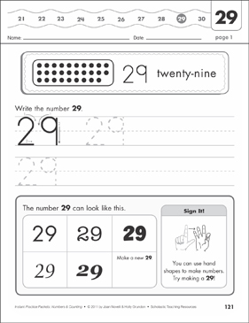 The Number Twenty-Nine (29): Numbers & Counting Practice Packet - Printable Worksheet