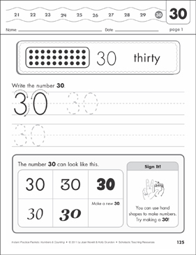 The Number Thirty (30): Numbers & Counting Practice Packet - Printable Worksheet