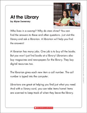 At the Library: Text & Organizer - Printable Worksheet