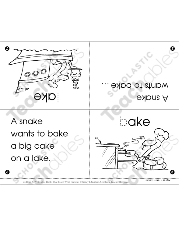 A Snake Ake Word Family Printable Mini Books