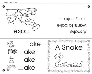 A Snake (-ake word family) - Printable Worksheet