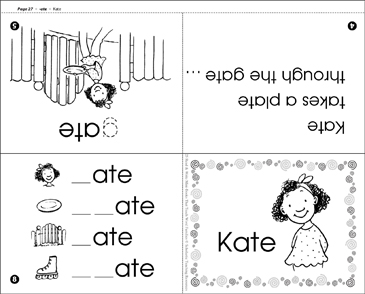 graphic relating to Word Family Printable known as Kate (-ate phrase relatives) Printable Mini-Publications