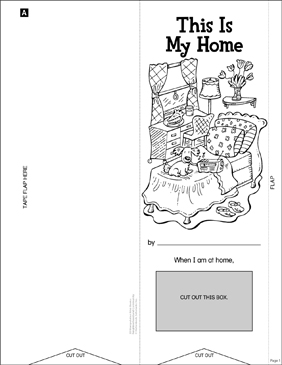 This Is My Home: Manipulative Mini-Book - Printable Worksheet