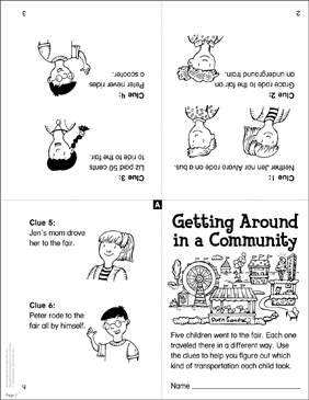 Getting Around in a Community: Manipulative Book - Printable Worksheet
