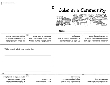 Jobs in a Community: Manipulative Mini-Book - Printable Worksheet