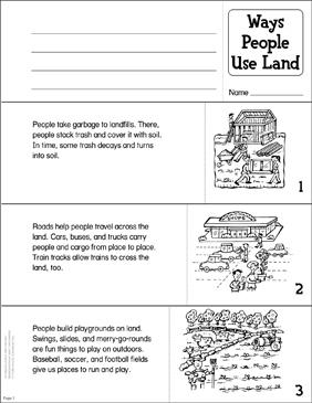 Ways People Use Land/Water Manipulative Mini-Books - Printable Worksheet