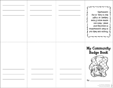 My Community Badge Book: Manipulative Mini-Book - Printable Worksheet