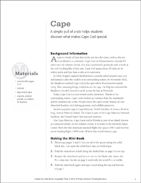 Cape: Geographic Terms Mini-Book - Printable Worksheet