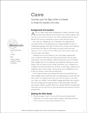 Cave: Geographic Terms Mini-Book - Printable Worksheet