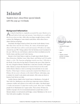 Island: Geographic Terms Mini-Book - Printable Worksheet